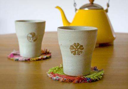 花個紋 信楽焼フリーカップ