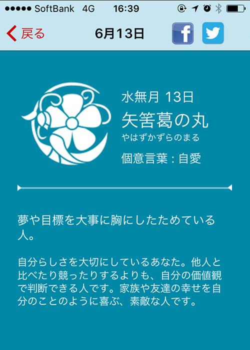 6/13の花個紋(iPhoneアプリ)