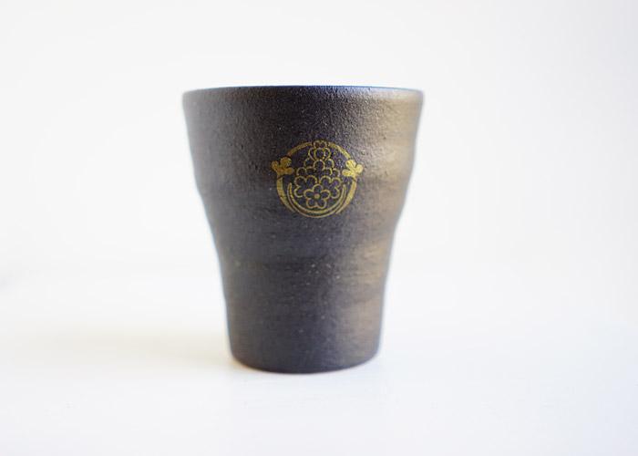 花個紋信楽焼フリーカップ 鳶茶色