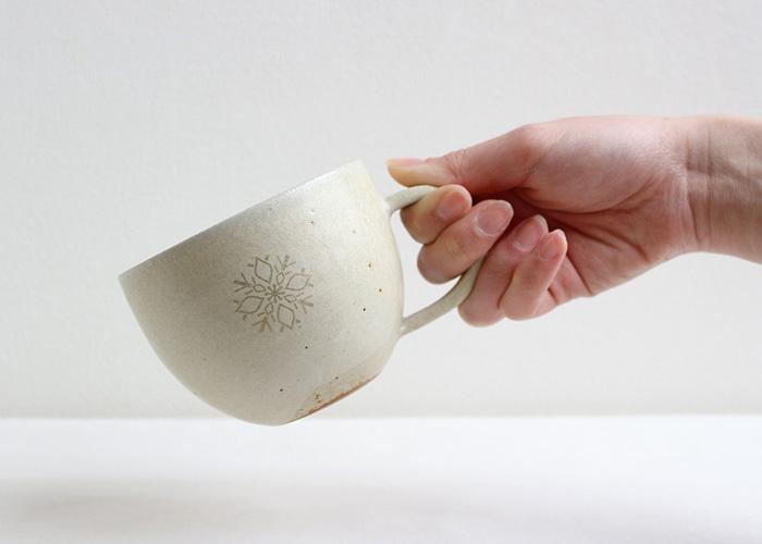 花個紋 信楽焼マグカップ
